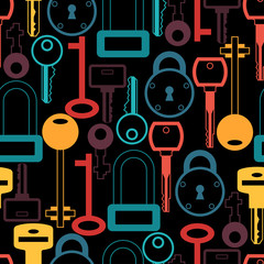 Seamless pattern with locks and keys icons.
