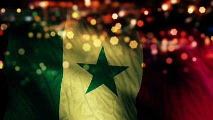 Senegal Flag Light Night Bokeh Abstract Loop Animation