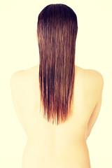 Woman's back. Long hair.