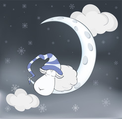 Lovely lamb and a moon Cartoon