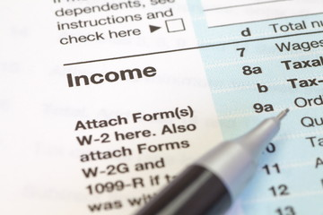 close - up U.S. income tax form