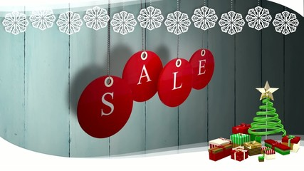 Red sale tags hanging against wood with festive border