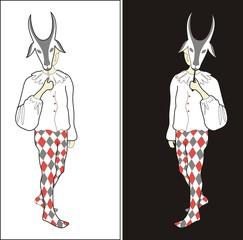 Harlequine with goat mask