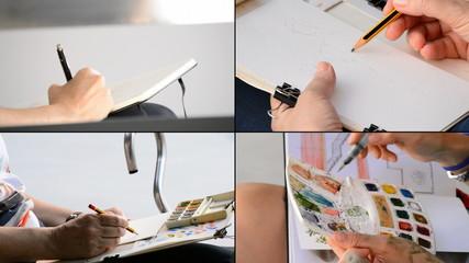 Collage of diferents frames of sketchers drawing in 4K format