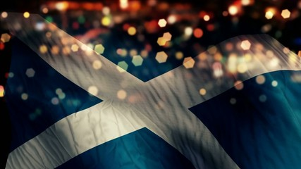 Scotland Flag Light Night Bokeh Abstract Loop Animation