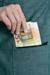 euro bills in the pocket