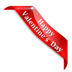 Red corner with the words Happy Valentine's day - vector svg