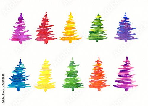 Leinwandbild Motiv Handgemalte abstrakte Weihnachtsbäume