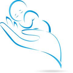 Logo, Hand, Kind, Baby