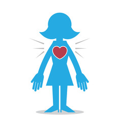 Blue woman silhouette with heart symbol