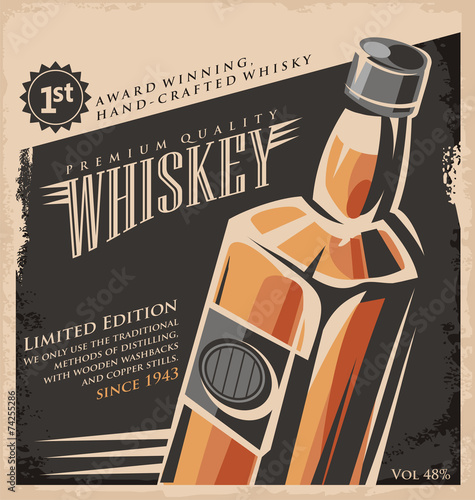 Whiskey vintage poster design template