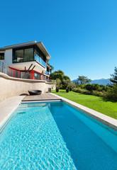 modern villa and pool