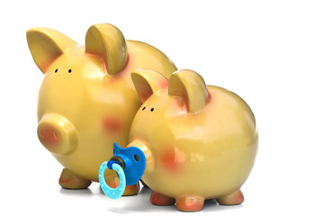 PIGGY BANK FAMILY - Father and son of The Piggy-Bank family.