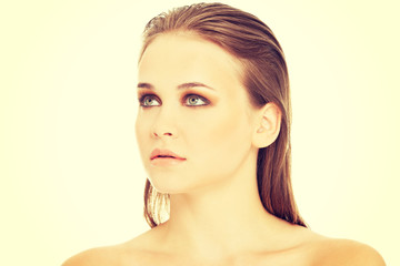 Attractive woman's portrait. Closeup.