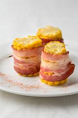 prepared corn pieces with bacon