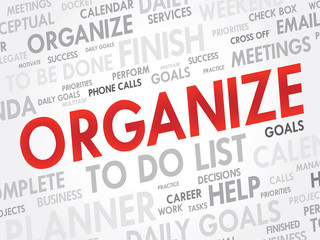 Word cloud of ORGANIZE related items, vector background