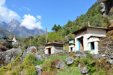 Непал, Гималаи, долина Кхумбу. Атрибуты буддизма