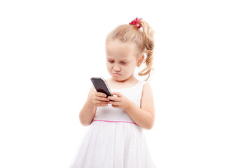 Cute little girl hold phone isolated