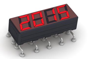 2015 год. Надпись на электронном индикаторе