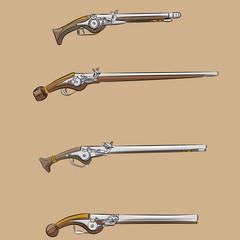vector vintage pistols