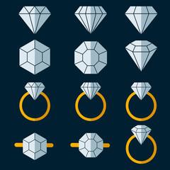 Diamond Vector Icon Symbol Set