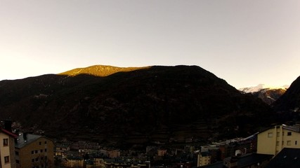 Timelapse sunrise in the mountains of Andorra, Encamp