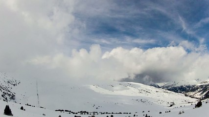 Snowy Mountains and Clouds Timelapse, Andorra