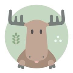 Animal set. Moose. Vector Illustration