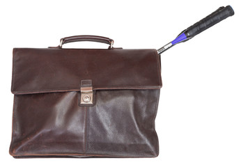 business leather briefcase with badminton rackets