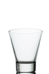 empty water glass on white