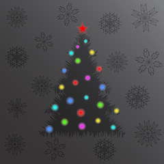 Glowing Christmas tree and lights. New year card