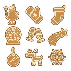 Christmas cookie vector icons set