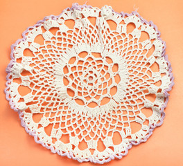 placemat with embroidered crochet lace