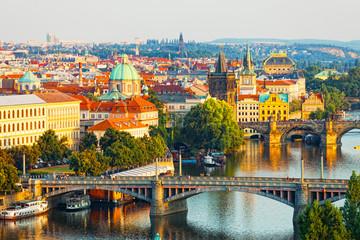 Beautiful view of bridges through Vltava in Prague