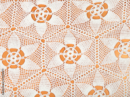 Leinwanddruck Bild star ornament lace by crochet close up