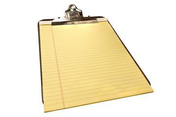 Blank Yellow Pad on Old Metal Clipboard