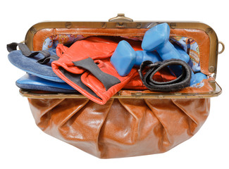 purse with sport boxing gloves and dumbbells