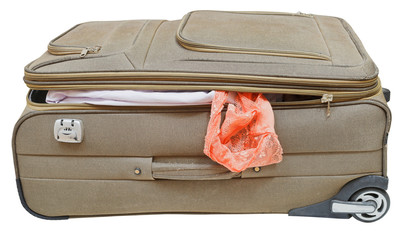 textile suitcase with fell out female panties