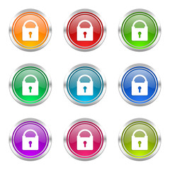 security colorful vector icons set