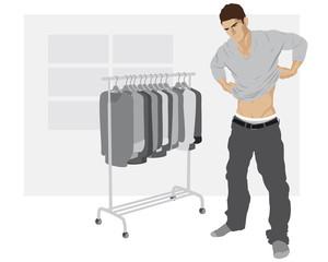 Junger Mann beim Anziehen