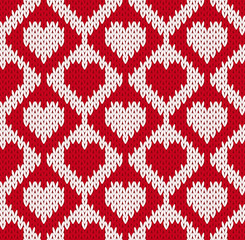 Seamless knitted pattern with hearts
