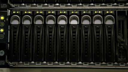 Green lights blinking on servers