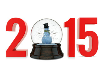Happy New Year 2015 with Snow Globe on White Background