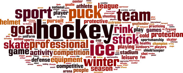 Hockey word cloud concept. Vector illustration