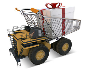 Construction Truck with trolley and giant wrapped present box