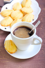 French lemon biscuits - madeleines and coffee