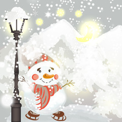 Christmas background with snowmen in environment of snow and tre