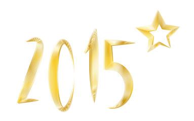Neujahr 2015 - Goldene Jahreszahl mit Stern
