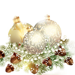 Christmas baubles with fir trees on white