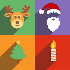 Christmas and New Year icons isolated